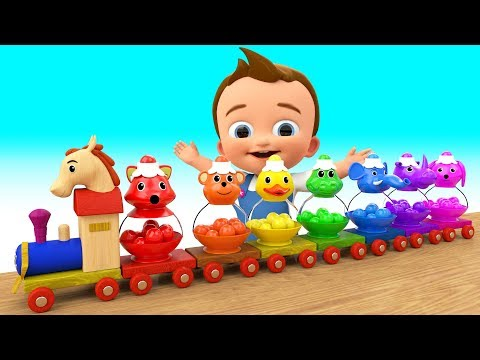 (Ver Filmes) Cartoon animals colorballs wooden train toy set 3d learn colors for children kids toddlers education