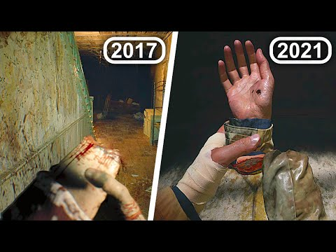 (New) Resident evil 8 village all times ethan cut his hands e legs in re7 e re8 scene comparison