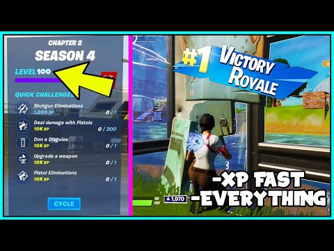 (New) How to rank up fast in fortnite season 4! (chapter 2 unlimited xp fast.)