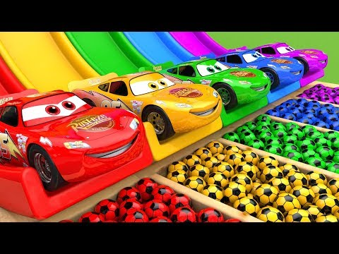 (Ver Filmes) Mcqueen car assembly surprise soccer ball | street vehicle with learn colors for kids