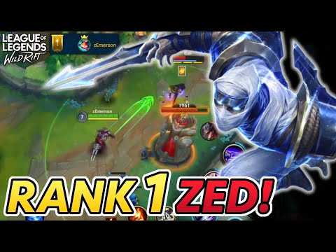 (New) Wild rifts rank 1 player on zed! (full gameplay, english commentary) | wild rift alpha