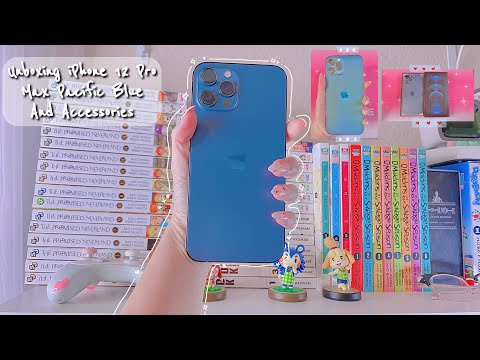(HD) Unboxing iphone 12 pro max pacific blue and accessories 🌸🛍️| 2021 💕