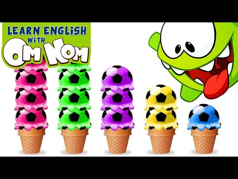 (Ver Filmes) Baby om nom loves ice creams! learn colors for babies with yummy soccer ice cream scoops by om nom!