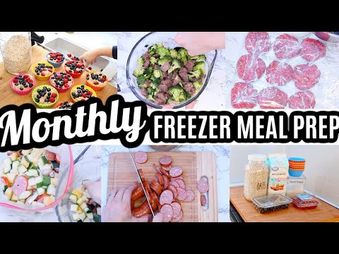 (New) Easy monthly freezer meal prep | stir fry freezer meals | snacks, meals e desserts