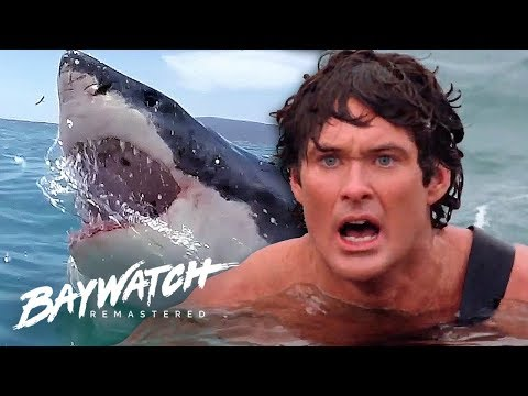 (New) Great white shark attack on baywatch! will mitch save jill?! baywatch remastered