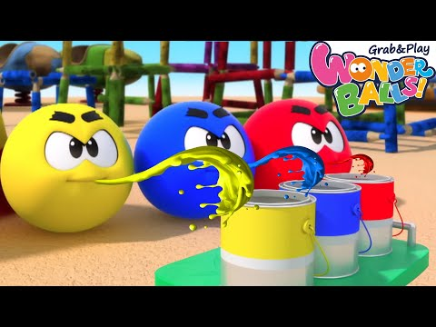 (Ver Filmes) Mixing colors with squishy wonderballs | wonderballs playground | cartoon for kids | colors e paint