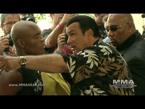 (HD) Ufc 148: anderson silvas boxing workout featuring soccer star ronaldo and steven seagalvs feijao