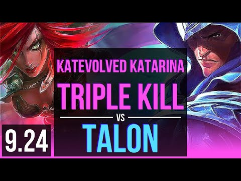 (New) Katevolved katarina vs talon (mid) | triple kill, godlike | na grandmaster | v9.24