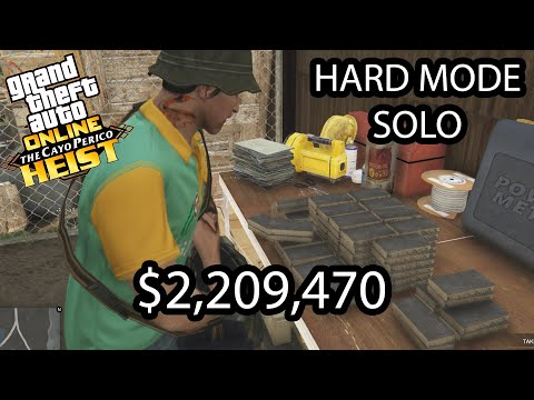 (New) Gta online cayo perico heist- solo stealth hard mode $2,209,470