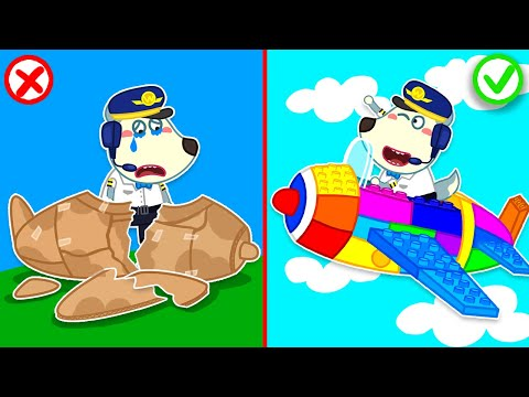 (Ver Filmes) Wolfoo builds a colorful lego airplane and becomes little pilot | wolfoo family kids cartoon