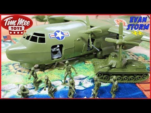 (New) Plastic army ac 130 military plane by tim mee toys army men play and unboxing