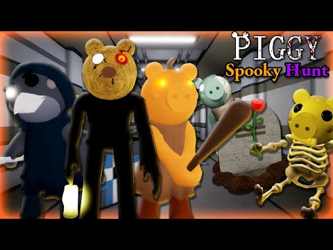 (New) Roblox piggy halloween spooky hunt!! find candles, bones, and secret skins!!