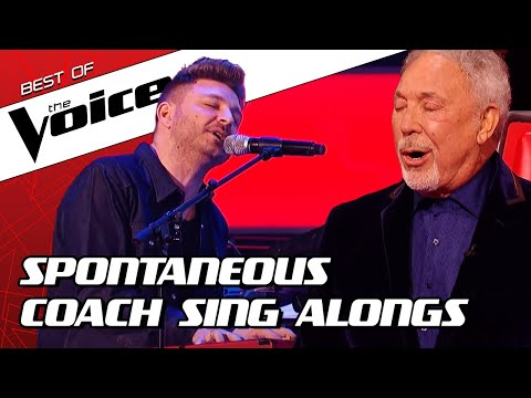 (New) Top 10 | surprise coach sing alongs during the blind auditions in the voice
