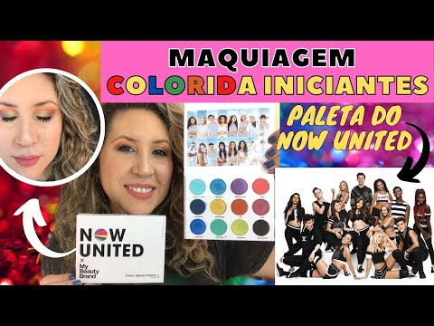 (New) Maquiagem colorida com paleta do now united | maquiagem colorida para iniciantes