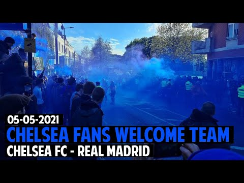 (New) Chelsea - real madrid 2:0 | chelsea fans welcome the team bus at stamford bridge 05.05.2021