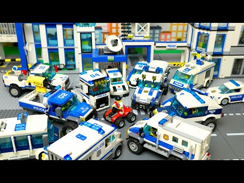 (HD) Lego cars and trucks for kids and big police station