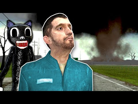 (New) Cartoon cat is after me during a tornado! - garrys mod gameplay