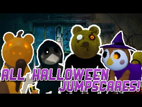 (New) All halloween skins and jumpscares!! - piggy spooky hunt part 2 2020
