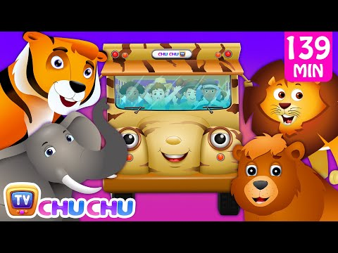 (VFHD Online) Wheels on the bus - wild animals e animal sounds and many more nursery rhymes collection | chuchu tv