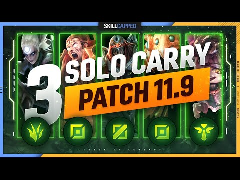 (New) 3 best solo carry champions for every role in patch 11.9 - league of legends