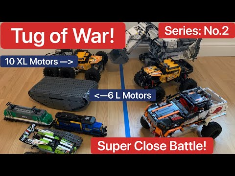 (New) Tug of war featuring lego technic models liebherr r 9800 42100, 42099 vs 9398, 42065 moc.epic battle